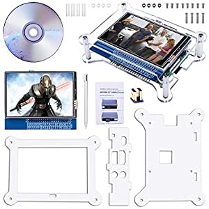 Quimat 3.5インチタッチスクリーン HDMIモニタTFT LCDディスプレイ Raspberry Pi 3 2 Model B Rpi B B+ A A+ 映画 アーケードゲーム オーディオ入力 RPi GPIOブレークアウト拡張ボード 保護ケースキット アクリル(透明) QC35C