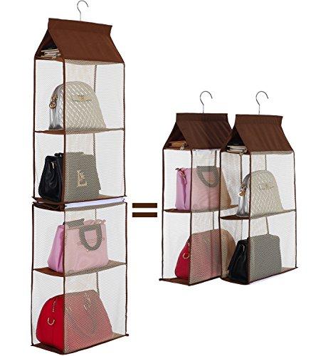 【今日ーお買い得】バッグ収納ラック カバン収納 吊り下げ 不織布 4段式 カバー付き 収納ボックス ラック 取り外し可能 モカ HIPPIH
