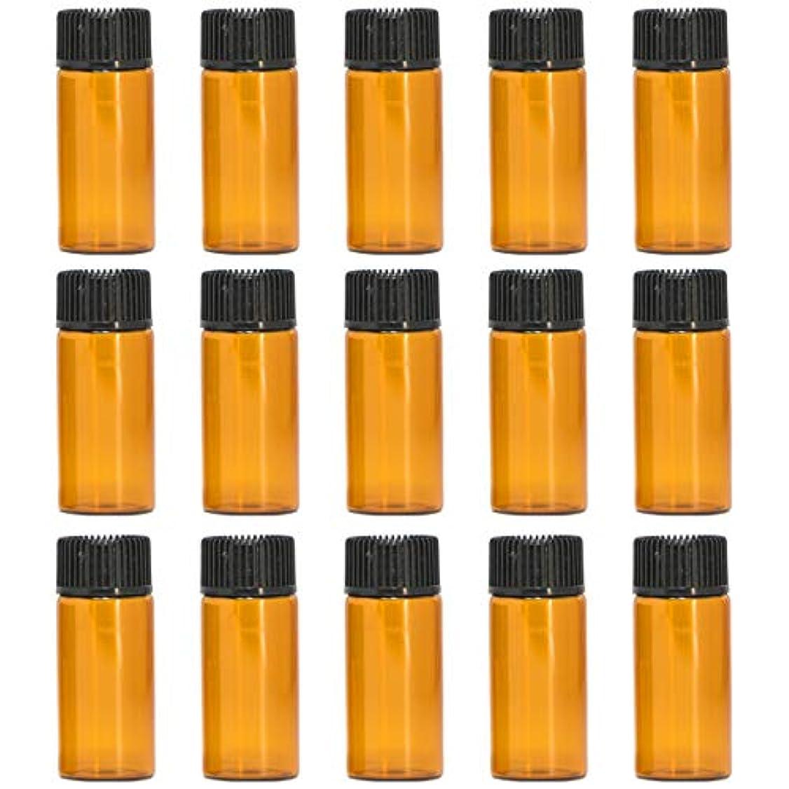 なめらかな疑い者欠席アロマオイル 精油 遮光瓶 遮光ビン ガラスボトル ガラス製 エッセンシャルオイル 保存用 保存容器詰め替え 茶色 ブラウン (5ml?15本セット))予備入り