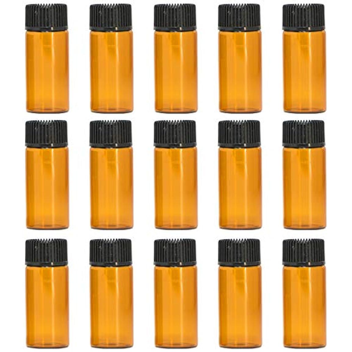 常習者のりラブアロマオイル 精油 遮光瓶 遮光ビン ガラスボトル ガラス製 エッセンシャルオイル 保存用 保存容器詰め替え 茶色 ブラウン (5ml?15本セット))予備入り