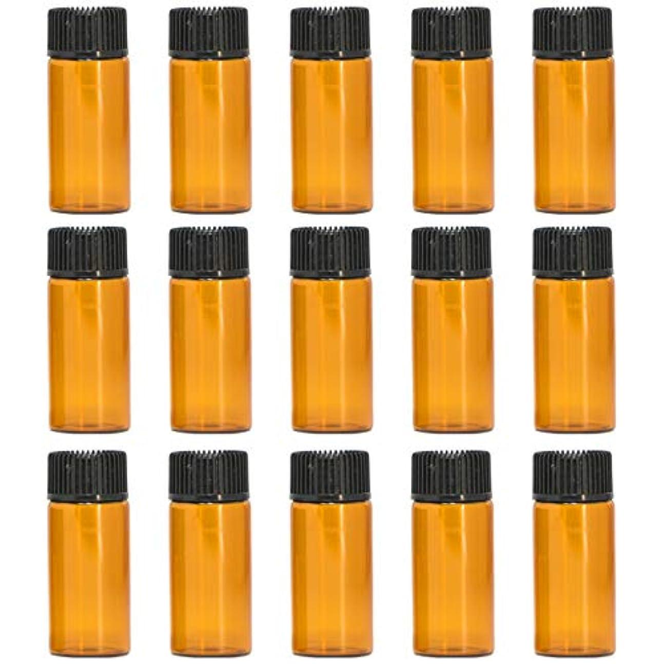 アロマオイル 精油 遮光瓶 遮光ビン ガラスボトル ガラス製 エッセンシャルオイル 保存用 保存容器詰め替え 茶色 ブラウン (5ml?15本セット))予備入り