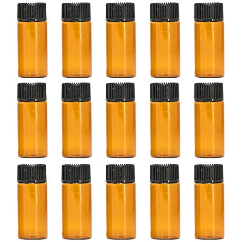毎週航海人形アロマオイル 精油 遮光瓶 遮光ビン ガラスボトル ガラス製 エッセンシャルオイル 保存用 保存容器詰め替え 茶色 ブラウン (5ml?15本セット))予備入り