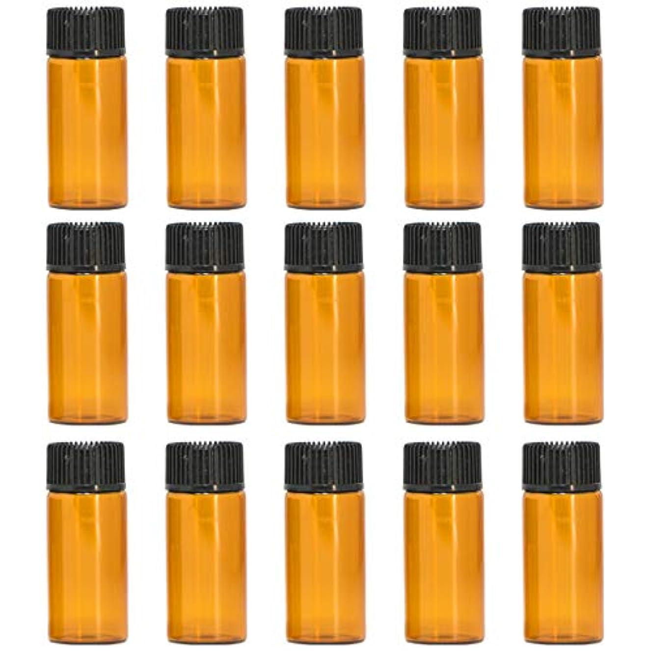 シャープ満州企業アロマオイル 精油 遮光瓶 遮光ビン ガラスボトル ガラス製 エッセンシャルオイル 保存用 保存容器詰め替え 茶色 ブラウン (5ml?15本セット))予備入り