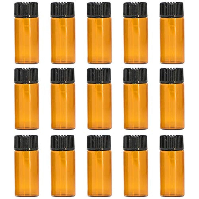 砲撃変装したキャビンアロマオイル 精油 遮光瓶 遮光ビン ガラスボトル ガラス製 エッセンシャルオイル 保存用 保存容器詰め替え 茶色 ブラウン (5ml?15本セット))予備入り