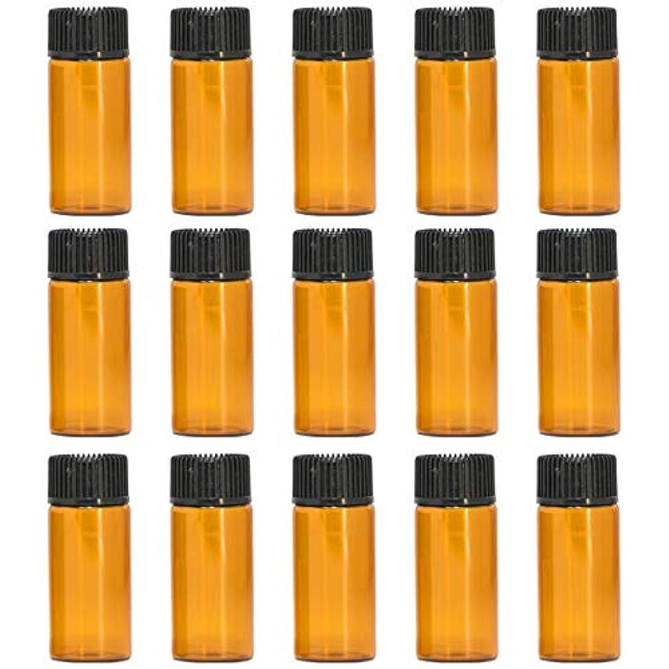 許可する次説得力のあるアロマオイル 精油 遮光瓶 遮光ビン ガラスボトル ガラス製 エッセンシャルオイル 保存用 保存容器詰め替え 茶色 ブラウン (5ml?15本セット))予備入り