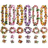 ゴシレ Gosear 6セットハワイアンレイルアウパーティー用品花ネックレスヘッドバンドリストバンド用トロピカルホリデービーチパーティー好意装飾スタイルA