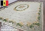 【極美品】 ベルギー製 ゴブラン織 カーペット ラグ 絨毯 花柄 品名モンゴ 約6畳 240×330cm グリーン色 滑り止め加工付