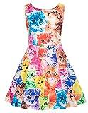 キッズ ガールズ ドレス シンプル 花柄 プリント 演奏会 卒園式 パーティー ワンピース 4#色 140cm
