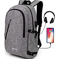 Cafele Laptop Backpack,Travel Computer Bag for Women & Men,Anti Theft Water Resistant College School Bookbag,Slim Business Backpack w/USB Charging Port Fits up to15.6 Inch Laptop Notebook,Grey