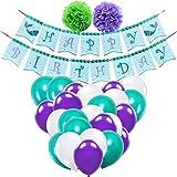 WERNNSAI マーメイドパーティー用品 - 可愛いパーティーデコレーション 子供 女の子 誕生日 マーメイドテーマパーティー グリッターバナー パープル グリーン ホワイト ラテックスバルーン リボンポンポン付き 35個