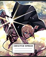 Composition Notebook: Attack On Titan Anime Japan Glossy Cover Wide Ruled Blank Lined Soft Cover Journal Paper 7.44 x 9.69 Inches 110 Pages
