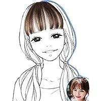 LANNA 総手植え レディース エアリーバンク 前髪ウィッグ エクステ ウィッグ ストレート 100%人毛 ぱっつん+サイドあり