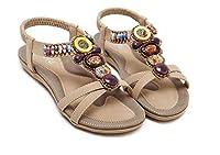(チェリーレッド) CherryRed レディース サンダル 女性 靴 フラットサンダル ボヘミア風 歩く安い 36 ブラック