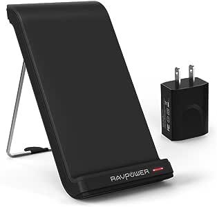 ワイヤレス充電器 RAVPower Qi ワイヤレスチャージャー ACアダプター付き スタンド式 3つコイル搭載 Galaxy S7 / S7 Edge / S6 / S6 Edge/Nexus 7 / 6 / 5 / 4 / LG G3 その他Qi対応機種 (ブラック)