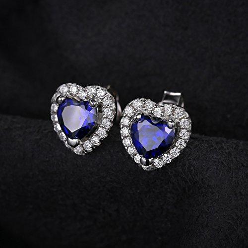 JewelryPalace 女性 1.2ct 高品質 人工 ブルー サファイア イヤリング ハート 可愛い 9月 誕生石 スターリング シルバー925 ピアス スタット