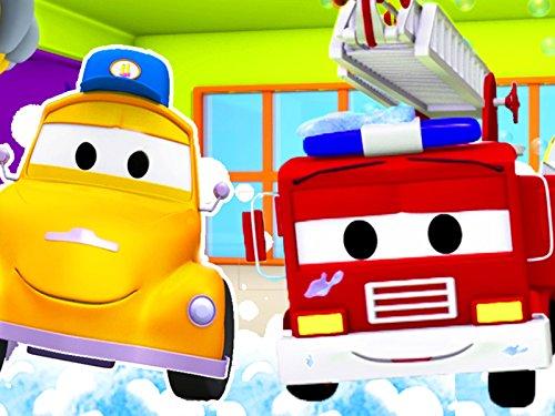消防車のフランク & 泥だらけのトラックと、レースカーのジェリー