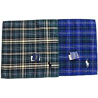 ポロ ラルフローレン メンズ タオルハンカチ 2セット ギフト袋付 チェック柄 ブルー/グリーン系 POLOロゴ刺繍入り