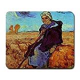 MILLET The Shepherdess後Millet by Vincent Van Goghマウスパッド