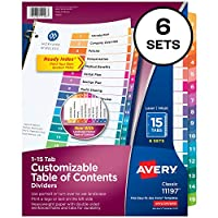Ready Index Contemporary Contents Divider, 1-15, Multicolor, Letter, 6 Sets