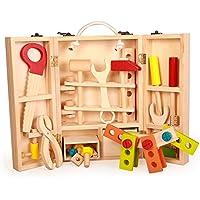 木のおもちゃ 木製ツールボックス 大工さんセット 3歳から 知育玩具