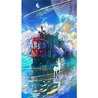 5D Diyフルスクエアドリルダイヤモンド絵画トレイン&ディアークロスステッチラインストーンモザイクホームインテリアギフトBk(30x40cm)