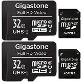 Gigastone マイクロSDカード 32GB 2個セット Micro SD card SDアダプタ付き U3 C10 SDHC 90MB/S Full HD 撮影