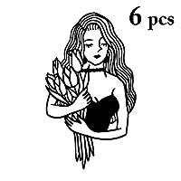 Kapmore タトゥーシール ステッカー 刺青 入れ墨 6枚セット 個性 紙 プレゼント 40パターン選択 黒