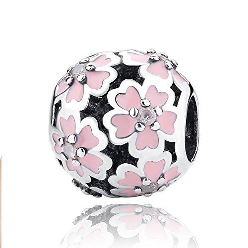 [해외]WOSTU S925 벚꽃 모티브 컬렉션 팔찌와 목걸이 겸용 매력 패션 실버 액세서리 여성 보석/WOSTU S925 Sakura motif collection Bracelet and necklace dual use charms fashion silver accessories ladies jewelry