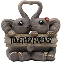 Loving Elephant Couple Figurine with Together Forever Sign and Heart Shape Trunks for Decorative Girls Bedroom Decor Statues Or Romantic Anniversary & Valentine's Day Gifts for Girlfriend and Women