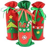 live foreverクリスマス ワインカバー ボトルカバー 不織布 3個セット (14*33cm)