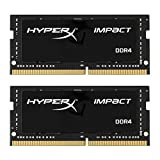 HyperX HX424S14IB2K2/16 Impact Black 16GB Kit of 2 (2x8GB)2400MHz DDR4 Non-ECC CL14 260-pin Unbuffered SODIMM Internal Memory Black