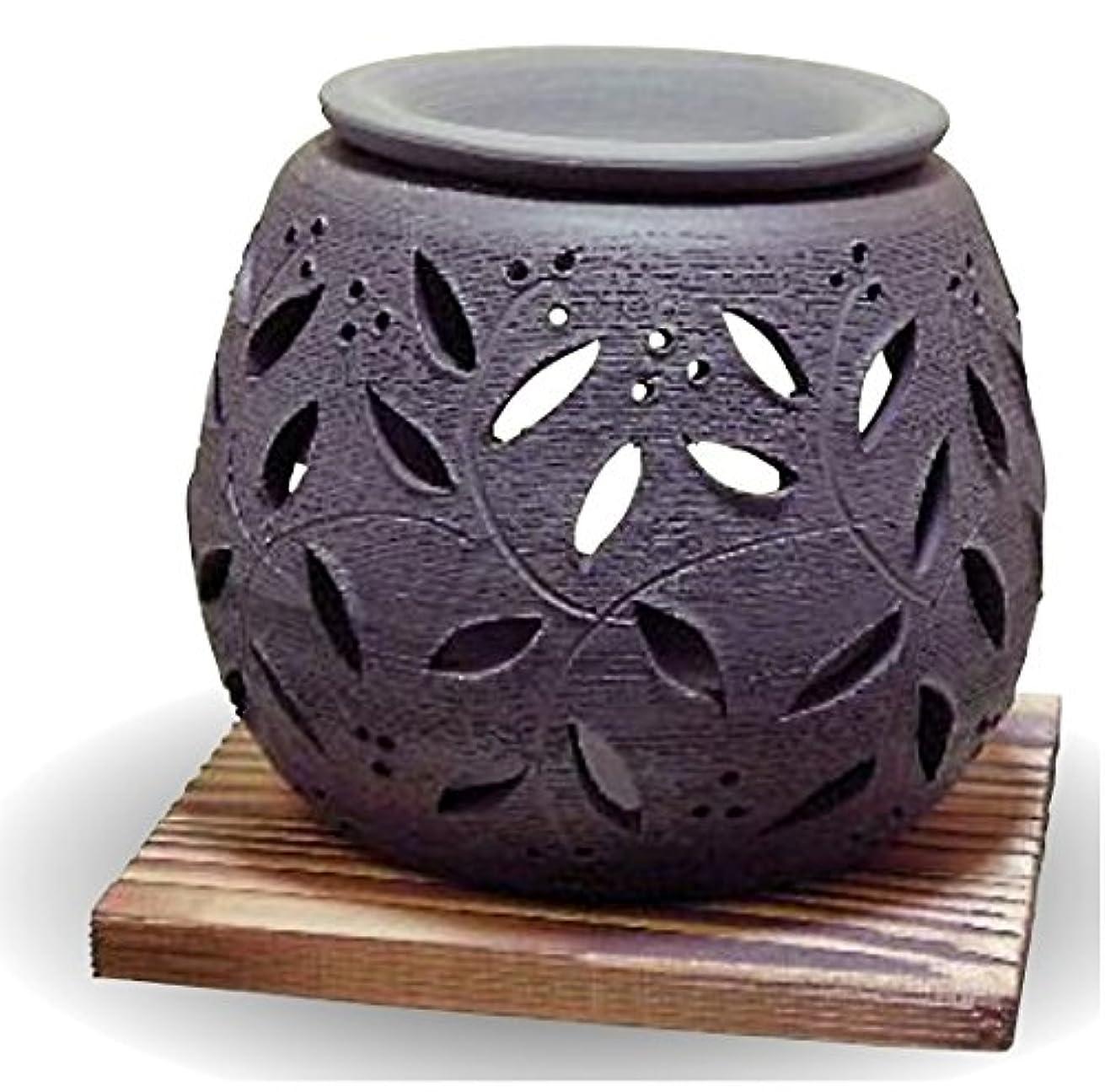 サイト木材類推常滑焼 茶香炉(アロマポット)径10×高さ9cm