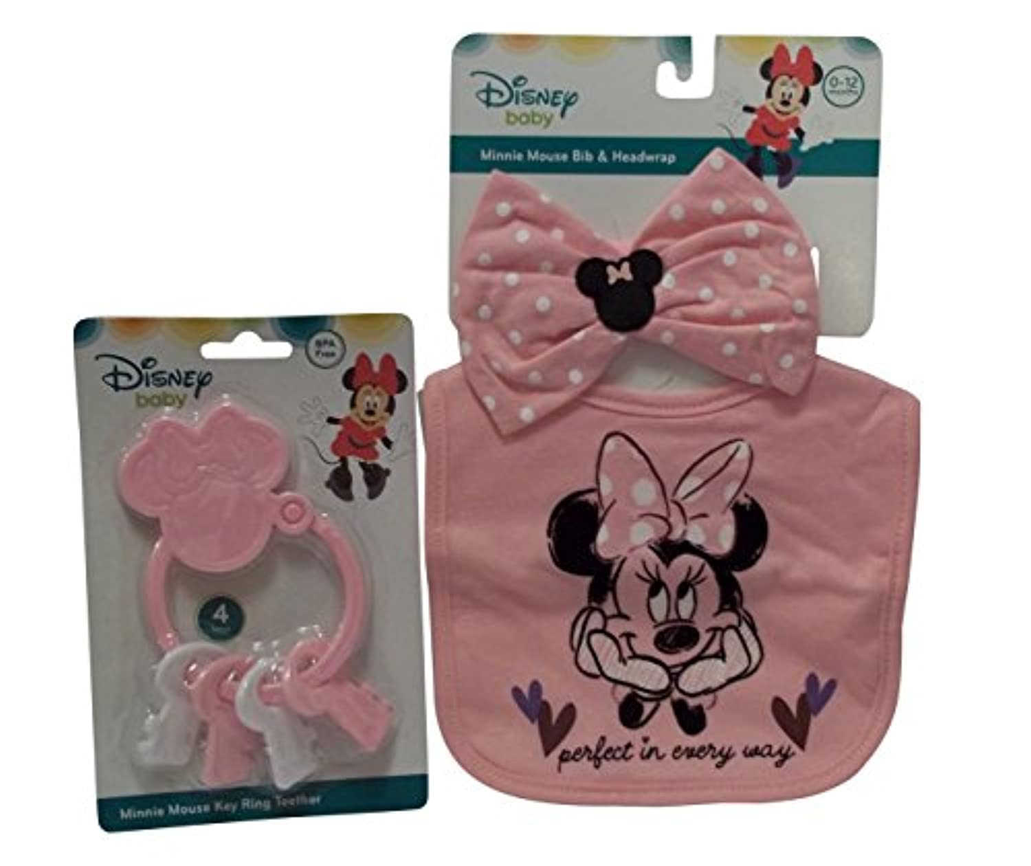 Disney Bib with Bow / Tie &キーリングTeether Set 60802