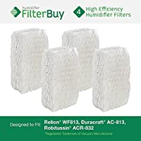 4 - WF813 ReliOn, AC-813 Duracraft , ACR-832 Robitussin Humidifier Wick Replacement Filters. Designed by FilterBuy to fit ReliOn RCM832 (RCM-832) RCM-832N, DH-832 and DH-830 Humidifers. by FilterBuy