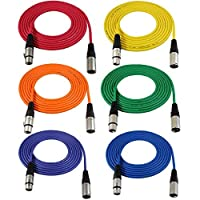 GLS Audio 12ft Mic Cable Patch Cords - XLR Male to XLR Female Colored Cables - 12' Balanced Mike Cord - 6 PACK [並行輸入品]