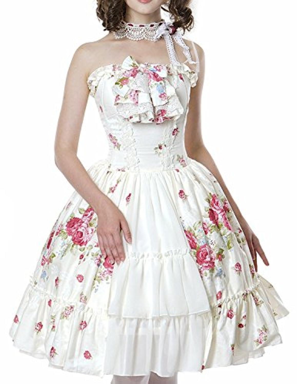 Pastel Bouquet Classical Lolita: Spiral Steel Boned Corsage Dress & Choker Set (XS) [並行輸入品]