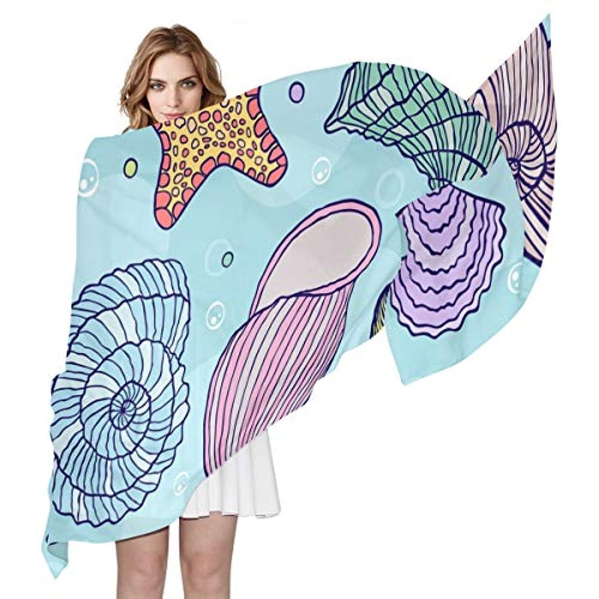 値するシャッフル吸収ユキオ(UKIO) 肌触り抜群 薄手 シフォンシルク ロング スカーフ ストール バンダナ おしゃれ 貝類 海洋風 彼女 子供 贈り物 ギフト 母の日 誕生日 プレゼント レディース バレンタインデー かわいい
