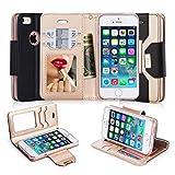 iPhone5S ケース iPhone5 ケース iPhone SE ケース,Fyy 良質PUレザーケース 横開き 手帳型 カバー 二つ折り ウォレット/財布型/カード収納 化粧鏡 ミラー 付き ちょう結び ストラップ スタンド機能 マグネット開閉 保護カバー iPhone SE/5S/5 対応 ブラック