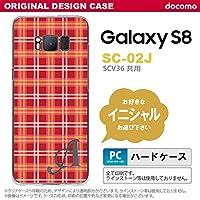 SC02J スマホケース Galaxy S8 ケース ギャラクシー S8 イニシャル チェックB 赤 nk-sc02j-432ini F