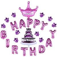 飾り ギフト パーティグッズ バルーン アート 風船 誕生日 バルーン アルファベット 空気入れ 誕生日 パーティー クロスセット   (happy birthday, ピンク)