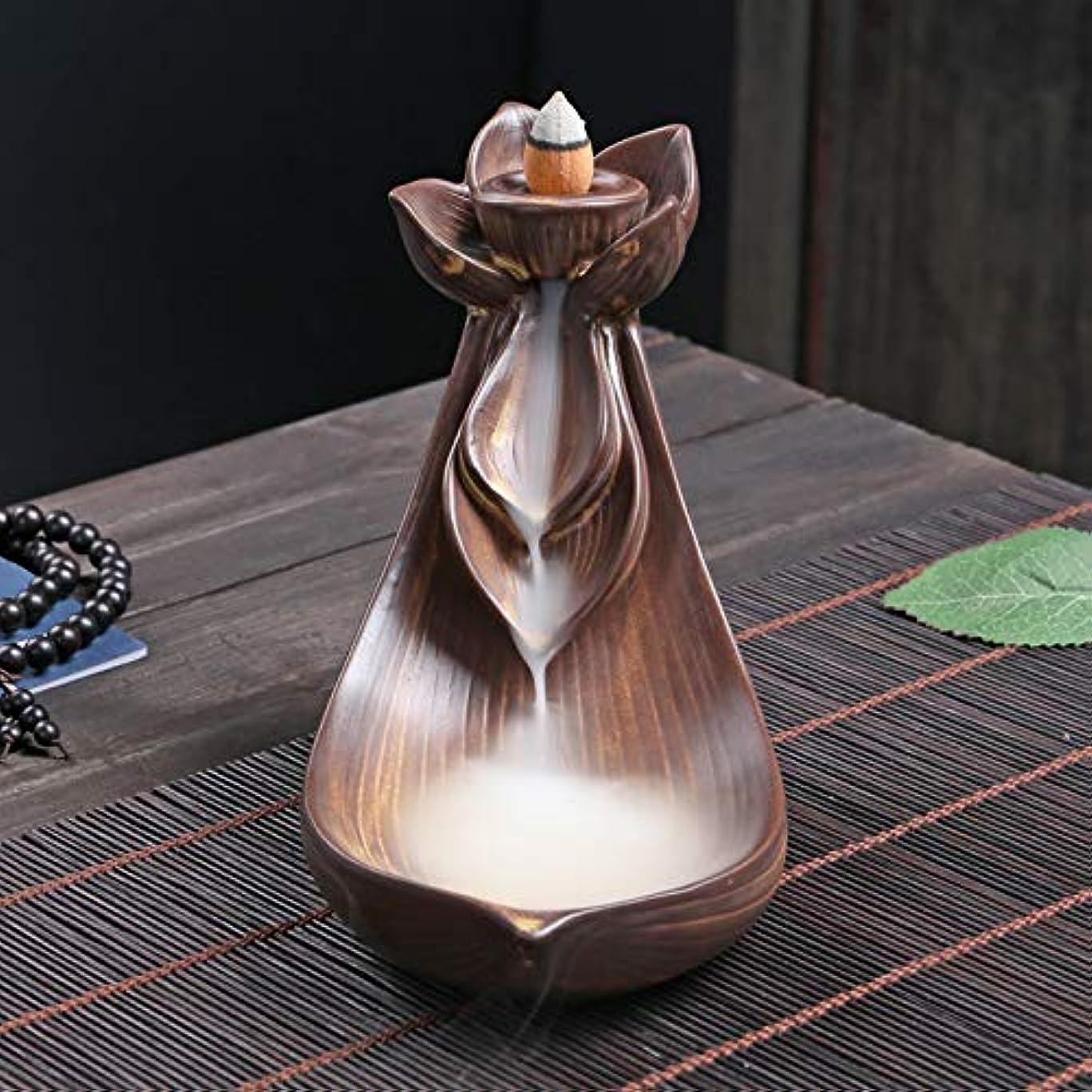 神秘ジャングル原始的なPHILOGOD 陶器香炉 ロータススタイリング逆流香炉 倒流香 お香 ホルダー 香立て (Small Lotus)