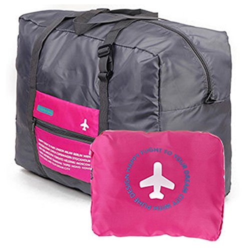 折り畳みバッグ トラベルバッグ [ピンク] キャリーオンバッグ 折りたたみ 大容量 32L