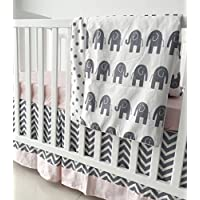 Sahaler Pink Grey Chevron Elenphant 3 Piece Crib Bedding Set Baby Comforter Sheet Set [並行輸入品]