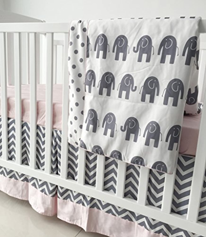 Sahaler Pink Grey Chevron Elenphant 3 Piece Crib Bedding Set Baby Comforter Sheet Set [並行輸入品]