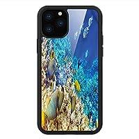 iPhone 11 Pro Max 用 強化ガラスケース クリア 薄型 耐衝撃 黒 カバーケース 魚 水生サンゴ iPhone 11 Pro 2019用 iPhone11 Proケース用