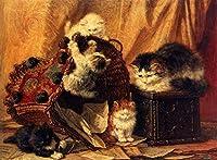 手描き-キャンバスの油絵 - The Turned Over Waste paper Basket 猫 Henriette Ronner Knip 動物 芸術 作品 洋画 -サイズ09