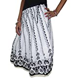Womens Summer Skirt Black-White Cotton Floral Print Peasant Boho Maxi Skirts M/L