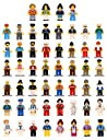 XADP 52 pcs Minifigures Set Building Party Favour Toys-Mini Community People Building Bricks for Kids, Boys and Girls