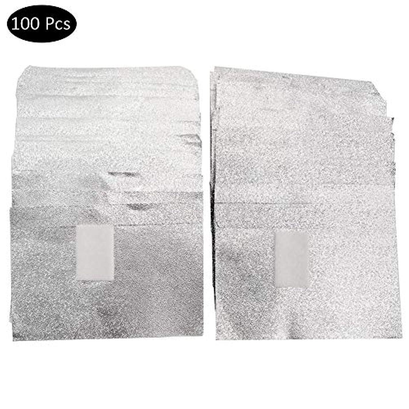 小さい有望運動するSILUN ネイルリムーバー錫箔ネイルポリッシュットン付きアルミホイル ジェル除却 使い捨て 爪マニキュア用品100枚入り使い捨て コットン付きアルミホイル ネイル用品 マニキュア用品