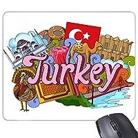 エフェソス、トルコのモスクの落書き 長方形のノンスリップゴムパッドのゲームマウスパッドプレゼント